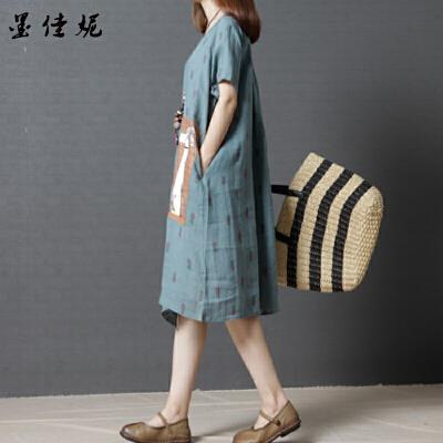 孕妇连衣裙夏季新款孕妇装夏装民族风宽松中长款短袖潮妈上衣