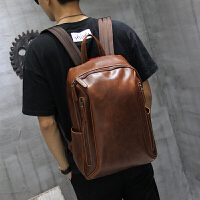 双肩包男背包时尚潮流旅行包男士包休闲疯马pu大容量电脑学生包 咖啡色