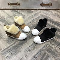 冬季新款皮毛一体羊纯色圆头短筒马丁靴棉靴简约潮