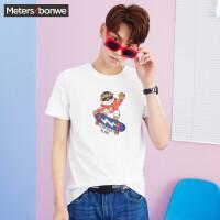 【满299减200】美特斯邦威 短袖T恤男装2018夏季新款滑板印花潮流运动纯棉T恤韩
