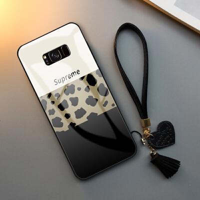 三星S8手机壳新款豹纹网红S8plus个性创意note8玻璃S9保护套拼色抖音S9PLUS女 三星 s8 plus-玻璃壳-拼色豹纹
