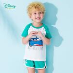【2.2折价:43.8】迪士尼Disney童装 儿童清凉短袖套装夏季新品男童卡通印花t恤五分裤192T876