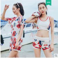 运动泳装泳衣女三件套韩国小香风泡温泉泳装保守遮肚显瘦平角分体游泳衣