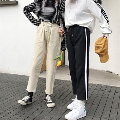 宽松牛仔裤女学生韩版学院风春装2018新款高腰撞色小脚哈伦裤长裤 发货周期:一般在付款后2-90天左右发货,具体发货时间请以与客服协商的时间为准