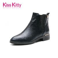 KissKitty冬新款牛皮粗跟复古英伦风切尔西短靴低跟女