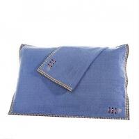 一对纯棉枕巾全棉纱布方格加厚枕巾纯色卡通枕头巾情侣大毛巾