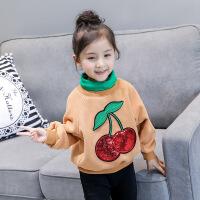韩版童装冬装新款樱桃高领套头衫加厚上衣女童加绒卫衣A-T83