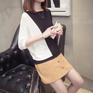 2018春夏新款女装韩版宽松蝙蝠袖黑白撞色针织衫短款上衣冰丝T恤