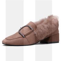 毛毛鞋女冬外穿2018新款粗跟鞋子中跟网红加绒女鞋单鞋秋冬兔毛鞋SN2814