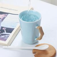 景德镇复古陶瓷杯定制马克杯带盖勺简约个性情侣杯子一对创意茶杯