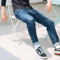 【2件4折到手价:95.6】美特斯邦威男直筒牛仔长裤冬季新款立体压皱修身直筒牛仔长裤
