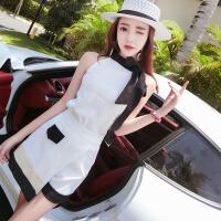 2018夏季新款时尚韩版无袖露肩上衣+高腰拼色显瘦短裤俏皮套装女