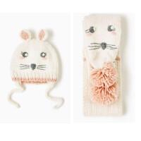 女童秋冬双层套头帽子宝宝白色兔子耳朵帽子+围巾两件套