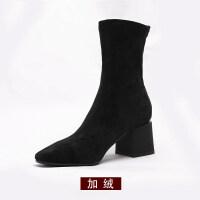 袜靴2018春新款2018秋季新款短靴瘦瘦靴高跟方头袜靴女学生粗跟中筒黑色弹力靴子hgl