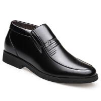 男鞋加绒保暖加厚棉鞋休闲真皮靴子中老年爸爸鞋高帮皮鞋 黑色