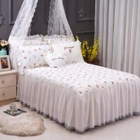 公主蕾丝床裙单件纯棉床单床罩席梦思1.5m1.8m床全棉床单 床裙.草莓夹棉