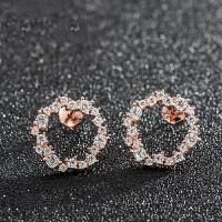 s925银耳饰 圆圈锆钻耳钉 百搭个性时尚耳环 送女友礼物