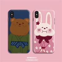 情侣熊熊和兔子可爱iphone7/8P手机壳XSMAX6软