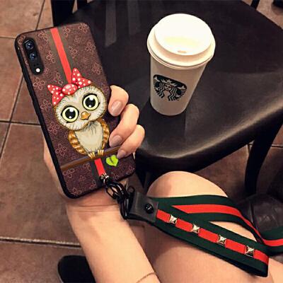华为P30手机壳女款硅胶NOVA4E保护套全包边手机壳软挂绳潮