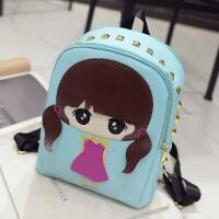 韩版潮新款女包儿童书包休闲旅游包可爱女孩萌小希铆钉双肩背包