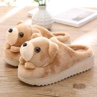 冬季可爱小熊卡通家居女生棉拖鞋毛毛绒冬天保暖室内居家防滑厚底