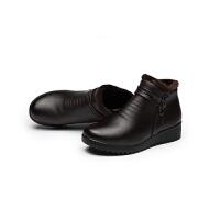 真皮棉鞋����鞋冬防滑�底中老年加�q加厚保暖皮靴女�底