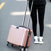 铝框登机箱18寸女小型拉杆箱商务男万向轮行李箱包迷你旅行箱子16SN7473 玫瑰金(拉链 镜面款) 18寸(登机箱)