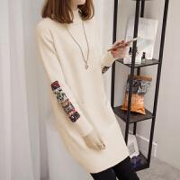 中长款毛衣女套头韩版2018新款显瘦包臀裙加厚打底针织衫