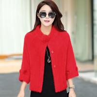 秋冬新款女士短款开衫针织衫厚毛衣貂绒外套大码毛绒披肩纯色 红色 短款 2X