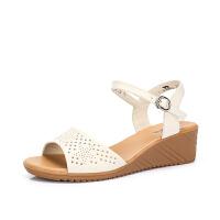 camel 骆驼女鞋真皮舒适坡跟妈妈鞋��鞋女夏2018新款孕妇软底中老年鞋子