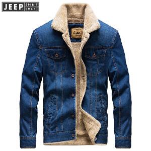 JEEP SPIRIT吉普男装加绒牛仔夹克秋冬加厚保暖时尚休闲茄克外套男士休闲棉服