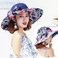 帽子女夏天可折叠大沿遮阳帽韩版蝴蝶结太阳帽出游防晒海边沙滩帽
