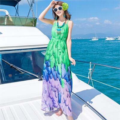 2018夏季新款波西米亚印花显瘦雪纺连衣裙海边度假沙滩长裙 发货周期:一般在付款后2-90天左右发货,具体发货时间请以与客服协商的时间为准