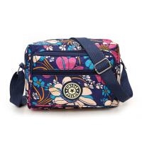 旅行包女帆布单肩包女新款三层时尚印花休闲防水妈咪斜跨小方包