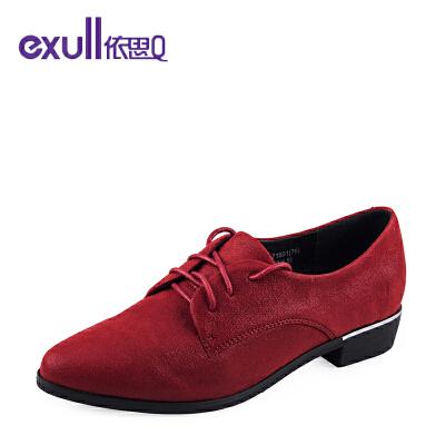 依思q新款复古尖头舒适低跟女鞋潮流系带单鞋女
