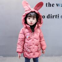 女童棉衣洋��和�冬�b外套加厚中�L款小孩女����棉�\