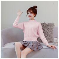 秋冬半高领羊绒衫短款女套头修身收腰毛衣新款韩版打底针织衫百搭