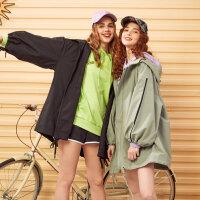【1件2.5折到手价:164.8】美特斯邦威外套女秋季新款时尚潮流宽松大版撞边休闲女士外套