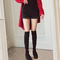 春装2018新款休闲黑色高腰金丝绒短裤女冬款外穿打底阔腿裤子