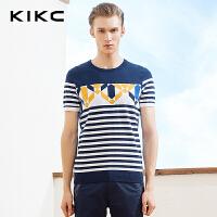 kikc男装新品短袖t恤打底衫条纹针织时尚上衣