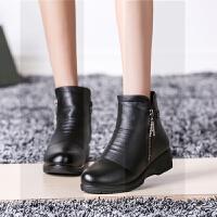 秋季新款中老年低跟舒适短靴妈妈穿秋冬靴子女防滑皮鞋加绒保暖鞋SN3722