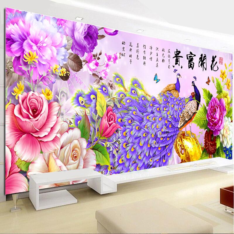 十字绣花开富贵孔雀牡丹花客厅大幅2018新款线绣印花