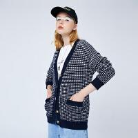 【2件3折 叠券预估价:89.5元】初语v领毛衣女宽松外穿2020新款复古慵懒风黑白格子针织开衫外套