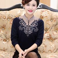 妈妈装秋装毛衣女50-60岁针织打底衫中老年女秋冬套头羊毛衫外穿