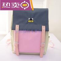 香港潮牌夏季新款韩版大容量双肩包女帆布撞色中学生书包休闲背包甜美淑女