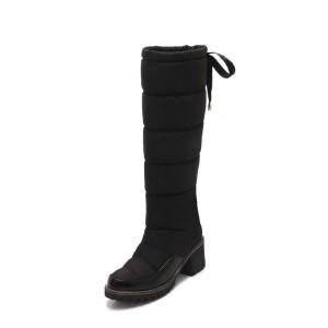 WARORWAR法国新品YG43-1029-5冬季欧美牛皮羽绒布粗跟高跟女鞋潮流时尚潮鞋百搭潮牌羽绒靴长靴