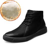 真皮男靴子马丁靴男短靴英伦风冬季加绒保暖潮靴棉靴雪