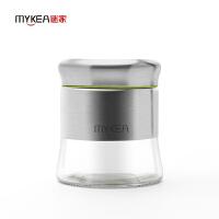 【当当自营】谜家 不锈钢密封罐玻璃储物罐调味罐调料盒厨房用品三件套 中号 600ml