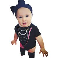 三角哈衣 短袖夏季纯棉爬服女宝宝新生儿衣服连体衣 婴儿包屁衣