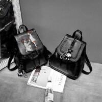 2018新款潮双肩包女士韩版时尚2017女pu软皮百搭休闲背包个性书包